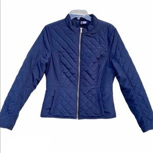 H&M quilted jacket navy blue puffer POCKETS GOLD M